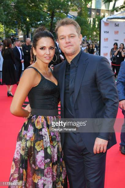 "Luciana Barroso and Matt Damon attend the ""Ford v Ferrari"" premiere during the 2019 Toronto International Film Festival at Roy Thomson Hall on..."