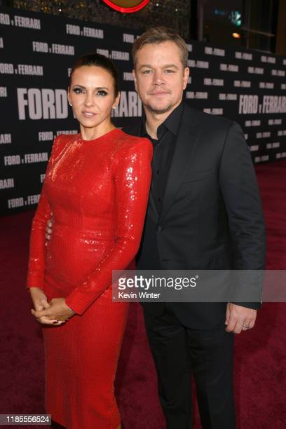 "Luciana Barroso and Matt Damon attend the Premiere of FOX's ""Ford V Ferrari"" at TCL Chinese Theatre on November 04, 2019 in Hollywood, California."