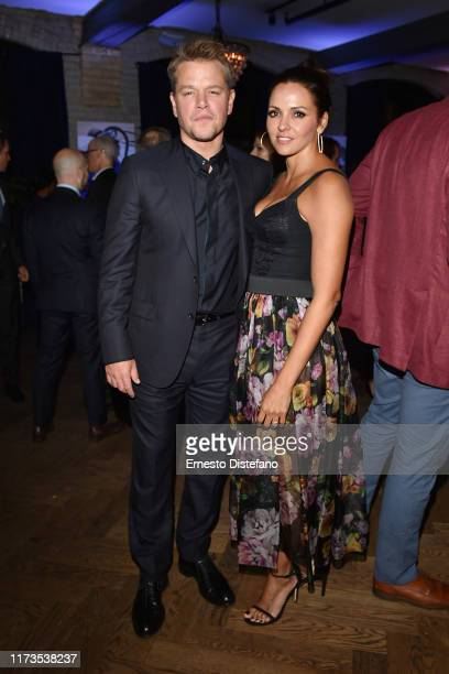 Luciana Barroso and Matt Damon attend the RBC Hosted Ford v Ferrari Cocktail Party At RBC House Toronto Film Festival 2019 at RBC House on September...