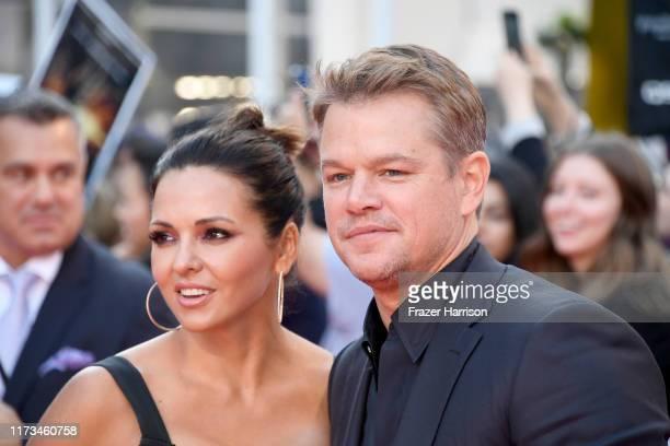 Luciana Barroso and Matt Damon attends the Ford v Ferrari premiere during the 2019 Toronto International Film Festival at Roy Thomson Hall on...