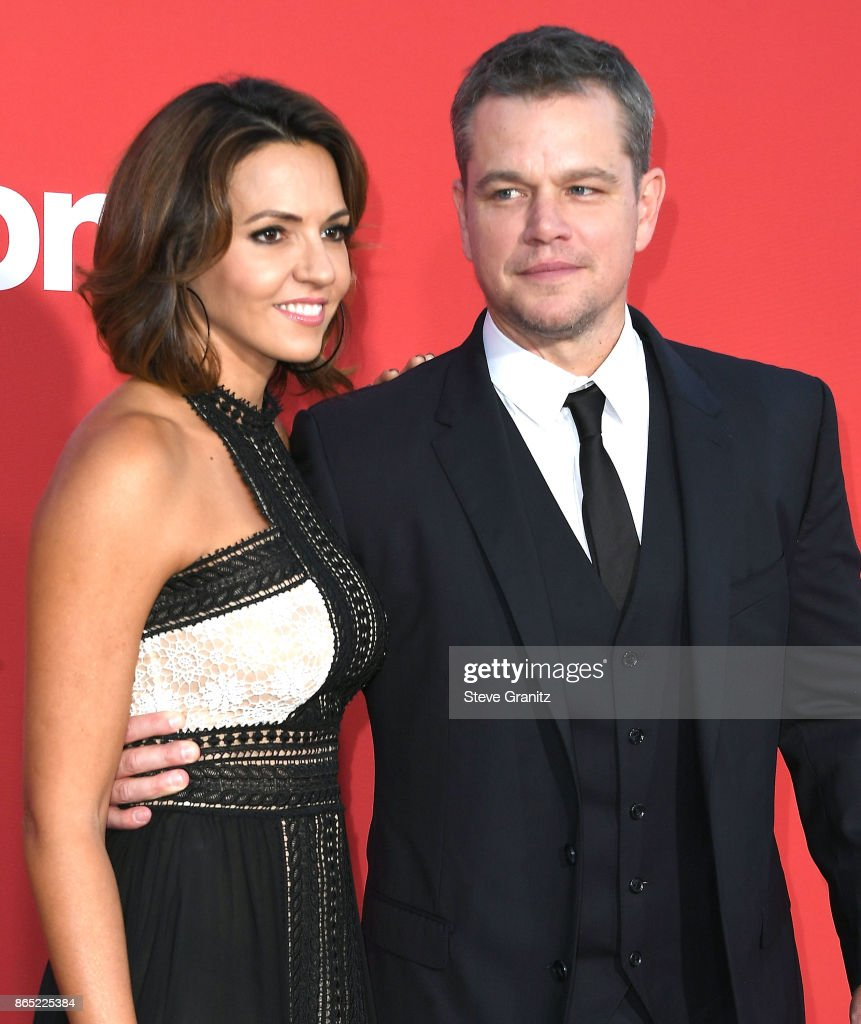 Luciana Barroso, Matt Damon arrives at the Premiere Of Paramount Pictures' 'Suburbicon' at Regency Village Theatre on October 22, 2017 in Westwood, California.
