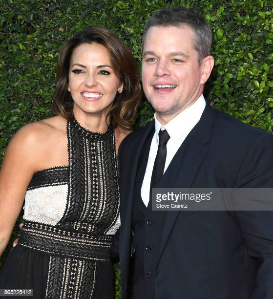 Luciana Barroso Matt Damon arrives at the Premiere Of Paramount Pictures' Suburbicon at Regency Village Theatre on October 22 2017 in Westwood...