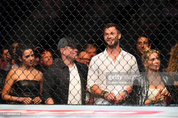 Luciana Barroso Matt Damon Chris Hemsworth and Elsa Pataky sit ringside during UFC234 at Rod Laver Arena on February 10 2019 in Melbourne Australia