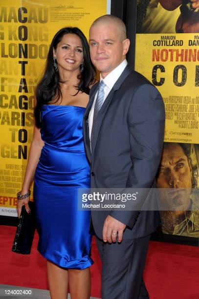 """Luciana Bozan Barroso and actor Matt Damon attend the """"Contagion"""" premiere at the Rose Theater, Jazz at Lincoln Center on September 7, 2011 in New..."""