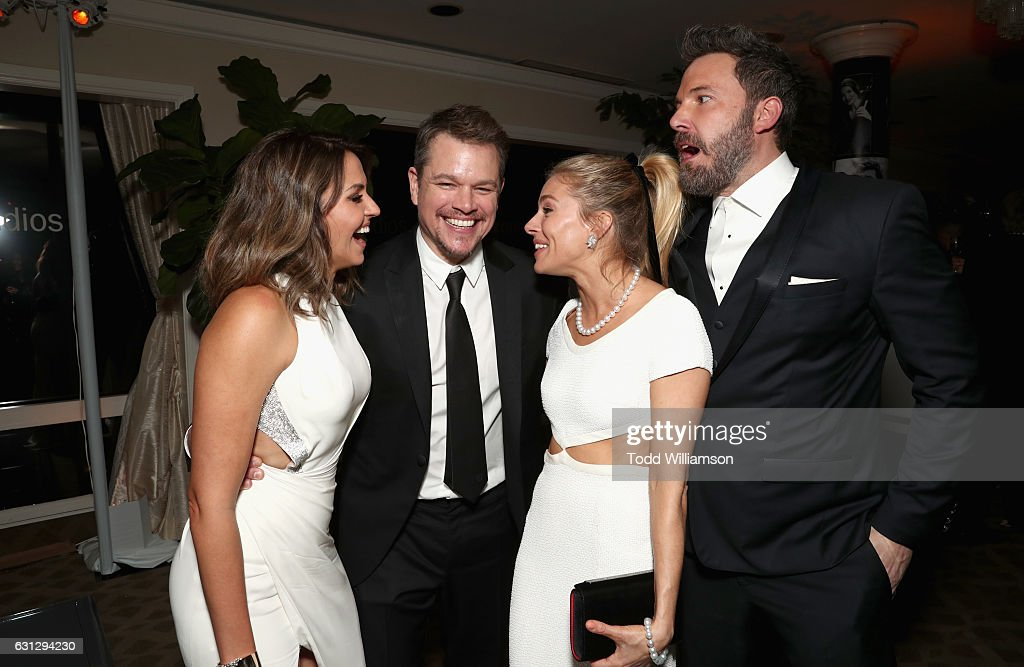 Luciana Damon, actor Matt Damon, actress Sienna Miller, and actor Ben Affleck attend Amazon Studios Golden Globes Celebration at The Beverly Hilton Hotel on January 8, 2017 in Beverly Hills, California.