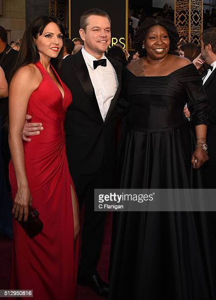 Luciana Damon, Actor Matt Damon and Actress Whoopi Goldberg attend the 88th Annual Academy Awards at the Hollywood & Highland Center on February 28,...