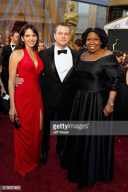 Luciana Damon, actor Matt Damon and actress Whoopi Goldberg attend the 88th Annual Academy Awards at Hollywood & Highland Center on February 28, 2016...