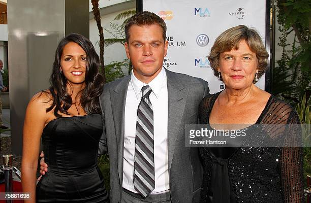 Luciana Damon actor Matt Damon and his mother Nancy CarlssonPaige arrive at Universal Pictures' premiere of The Bourne Ultimatum held at the ArcLight...