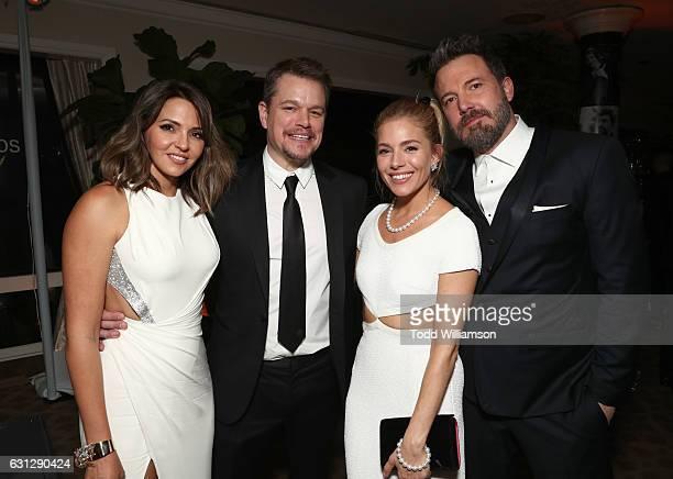 Luciana Damon, actors Matt Damon, Sienna Miller and Ben Affleck attend Amazon Studios Golden Globes Celebration at The Beverly Hilton Hotel on...