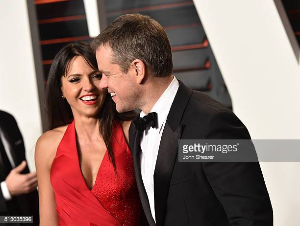 Luciana Damon and actor Matt Damon arrive at the 2016 Vanity Fair Oscar Party Hosted By Graydon Carter at Wallis Annenberg Center for the Performing...