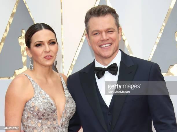 Luciana Damon and actor Matt Damon arrive at the 89th Annual Academy Awards at Hollywood Highland Center on February 26 2017 in Hollywood California