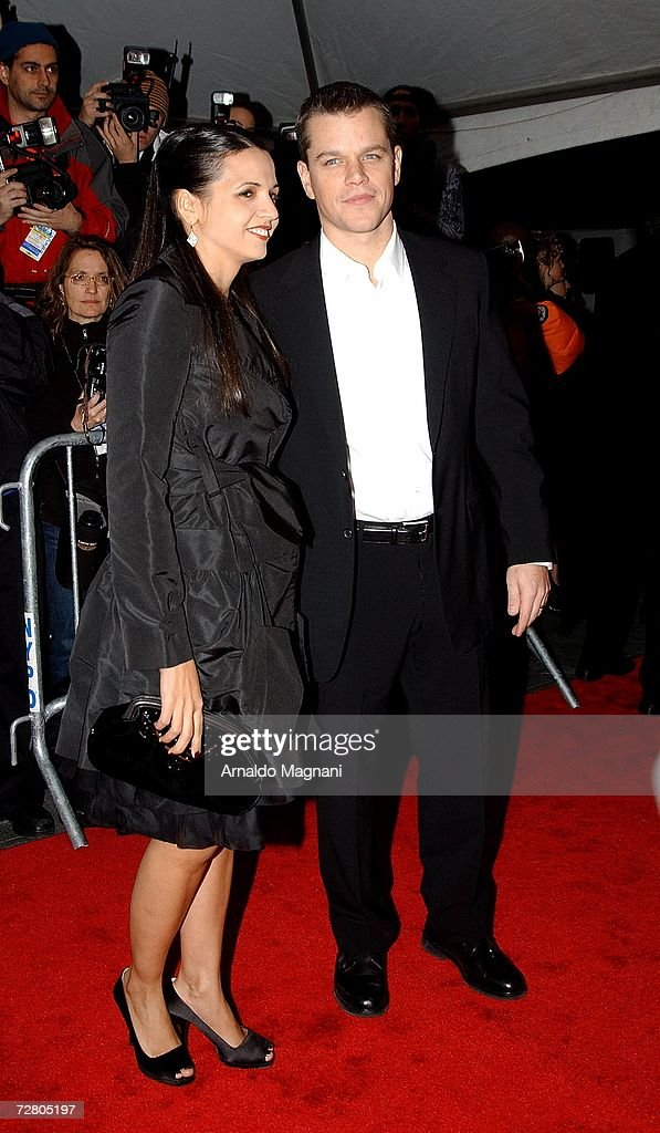Luciana Damon and actor Matt Damon arrive at the World Premiere of ''The Good Shepherd'' presented by Universal Pictures at the Ziegfeld Theatre on December 11, 2006 in New York City.