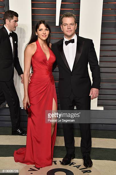 Luciana Damon and actor Matt Damon attend the 2016 Vanity Fair Oscar Party Hosted By Graydon Carter at the Wallis Annenberg Center for the Performing...