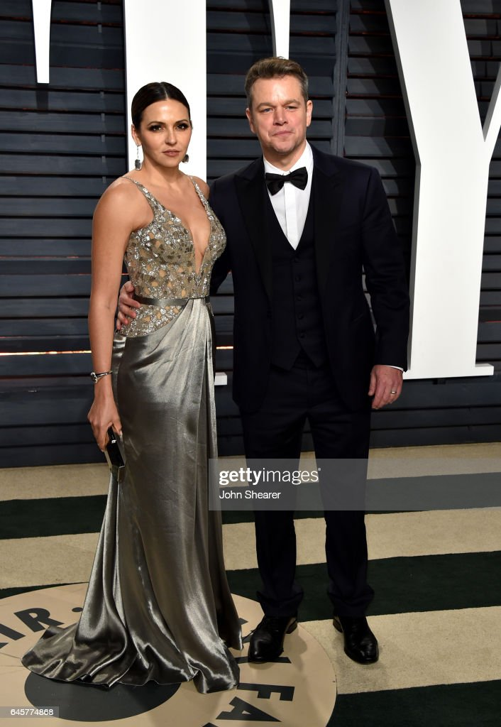 Luciana Damon (L) and actor Matt Damon attend the 2017 Vanity Fair Oscar Party hosted by Graydon Carter at Wallis Annenberg Center for the Performing Arts on February 26, 2017 in Beverly Hills, California.