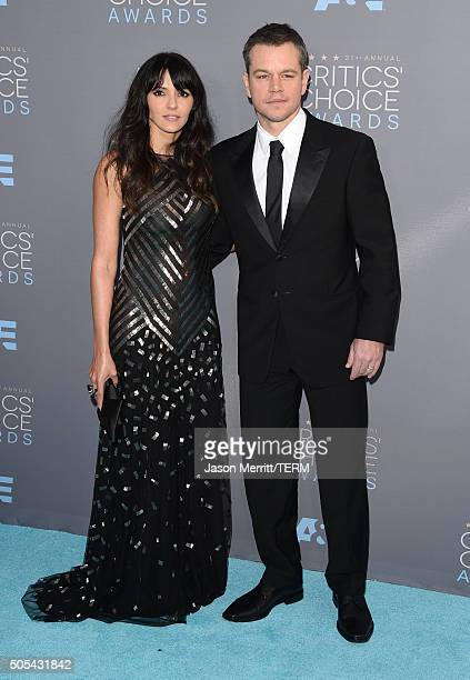 Luciana Damon and actor Matt Damon attend the 21st Annual Critics' Choice Awards at Barker Hangar on January 17 2016 in Santa Monica California