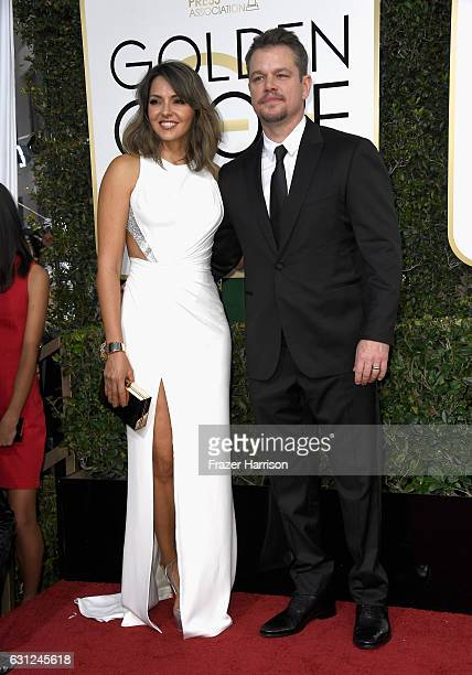 Luciana Damon and actor Matt Damon attend the 74th Annual Golden Globe Awards at The Beverly Hilton Hotel on January 8 2017 in Beverly Hills...