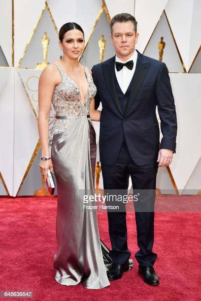 Luciana Damon and actor Matt Damon attend the 89th Annual Academy Awards at Hollywood Highland Center on February 26 2017 in Hollywood California