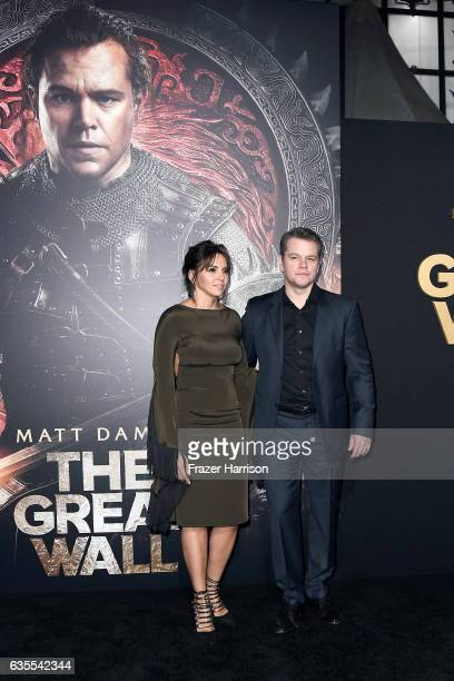 Luciana Damon and actor Matt Damon attend the premiere of Universal Pictures' 'The Great Wall' at TCL Chinese Theatre IMAX on February 15 2017 in...