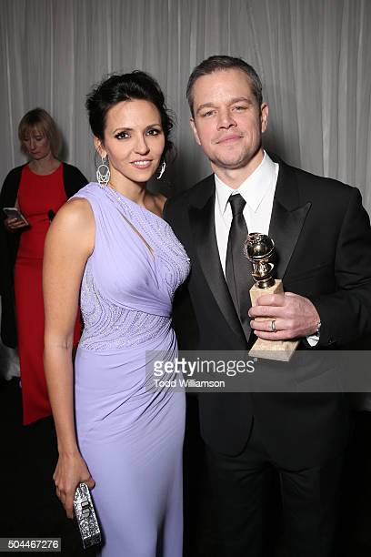 Luciana Damon and actor Matt Damon winner of the Best Performance by an Actor in a Motion Picture Musical or Comedy award for 'The Martian' attend...