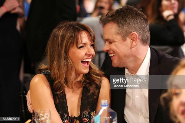 Luciana Damon and actor/director Matt Damon attend the 2017 Film Independent Spirit Awards at the Santa Monica Pier on February 25 2017 in Santa...