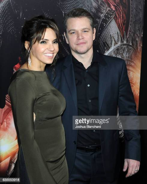 Luciana Damon and Matt Damon arrive at the premiere of Universal Pictures' 'The Great Wall' at TCL Chinese Theatre IMAX on February 15 2017 in...