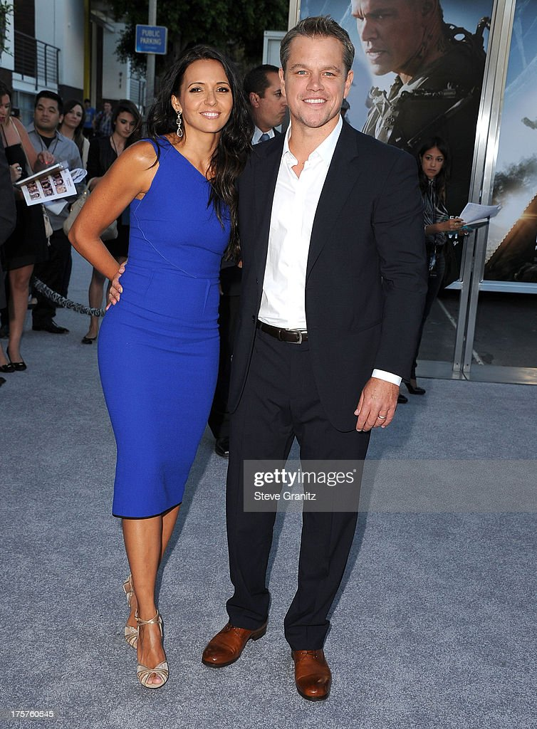 Luciana Damon and Matt Damon arrives at the 'Elysium' - Los Angeles Premiere at Regency Village Theatre on August 7, 2013 in Westwood, California.