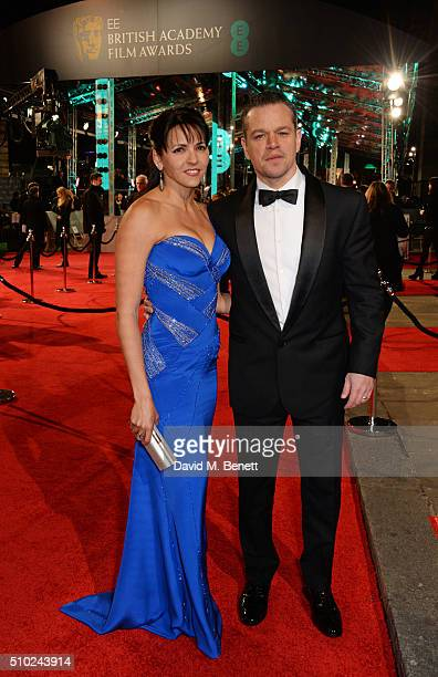Luciana Damon and Matt Damon attend the EE British Academy Film Awards at The Royal Opera House on February 14 2016 in London England