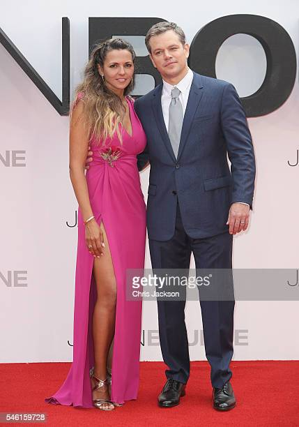 """Luciana Damon and Matt Damon attend the """"Jason Bourne"""" European premiere at the Odeon Leicester Square on July 11, 2016 in London, England."""