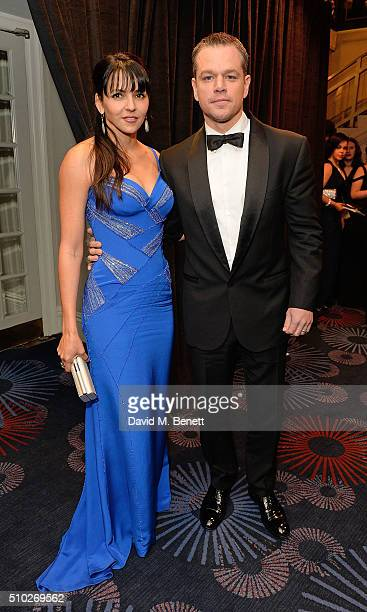 Luciana Damon and Matt Damon attend the official After Party Dinner for the EE British Academy Film Awards at The Grosvenor House Hotel on February...