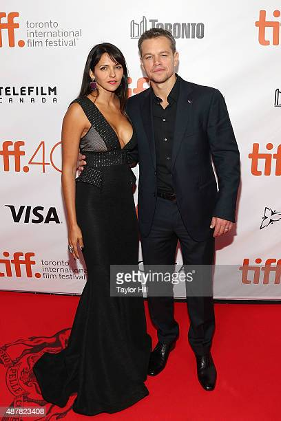 Luciana Damon and Matt Damon attend the premiere for 'The Martian' at Roy Thomson Hall during the 2015 Toronto International Film Festival on...