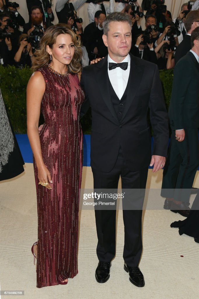 Luciana Damon (L) and Matt Damon attend the 'Rei Kawakubo/Comme des Garcons: Art Of The In-Between' Costume Institute Gala at Metropolitan Museum of Art on May 1, 2017 in New York City.