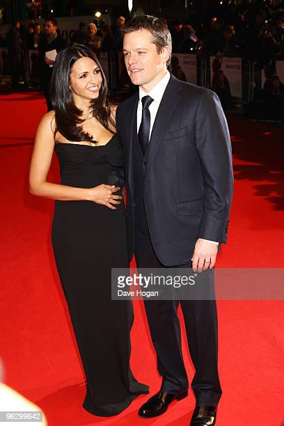 Luciana Damon and Matt Damon attend the UK premiere of Invictus held the at The Odeon West End on January 31, 2010 in London, England.