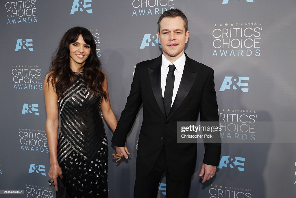 Luciana Damon (L) and Matt Damon attends the 21st Annual Critics' Choice Awards at Barker Hangar on January 17, 2016 in Santa Monica, California.