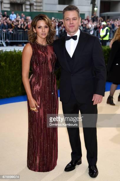 "Luciana Damon and Matt Damon attends the ""Rei Kawakubo/Comme des Garcons: Art Of The In-Between"" Costume Institute Gala at Metropolitan Museum of Art..."