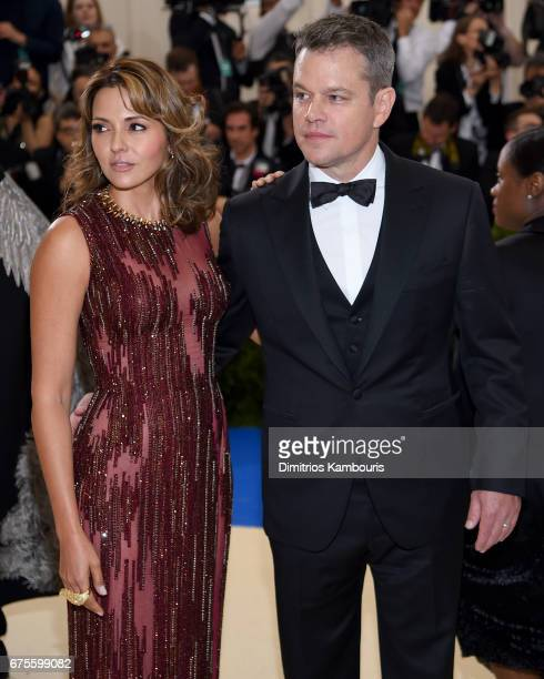 Luciana Damon and Matt Damon attends the Rei Kawakubo/Comme des Garcons Art Of The InBetween Costume Institute Gala at Metropolitan Museum of Art on...