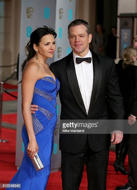 Luciana Damon and Matt Damon attendsthe EE British Academy Film Awards at The Royal Opera House on February 14, 2016 in London, England.
