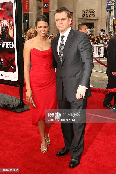 Luciana Damon and Matt Damon during Ocean's Thirteen Los Angeles Premiere Arrivals at Grauman's Chinese Theater in Hollywood California United States