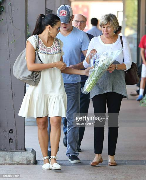 Luciana Damon, Matt Damon and his mother Nancy Carlsson-Paige are seen on October 08, 2014 in Los Angeles, California.