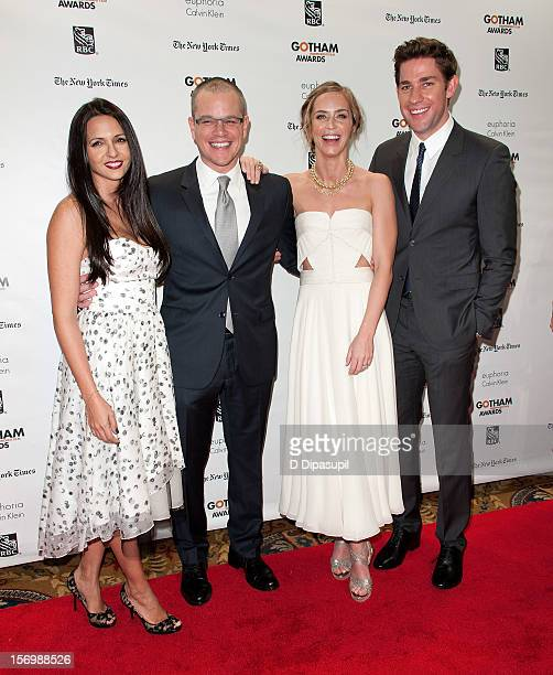 Luciana Damon, Matt Damon, Emily Blunt, and John Krasinski attend the 22nd annual Gotham Independent Film awards at Cipriani, Wall Street on November...