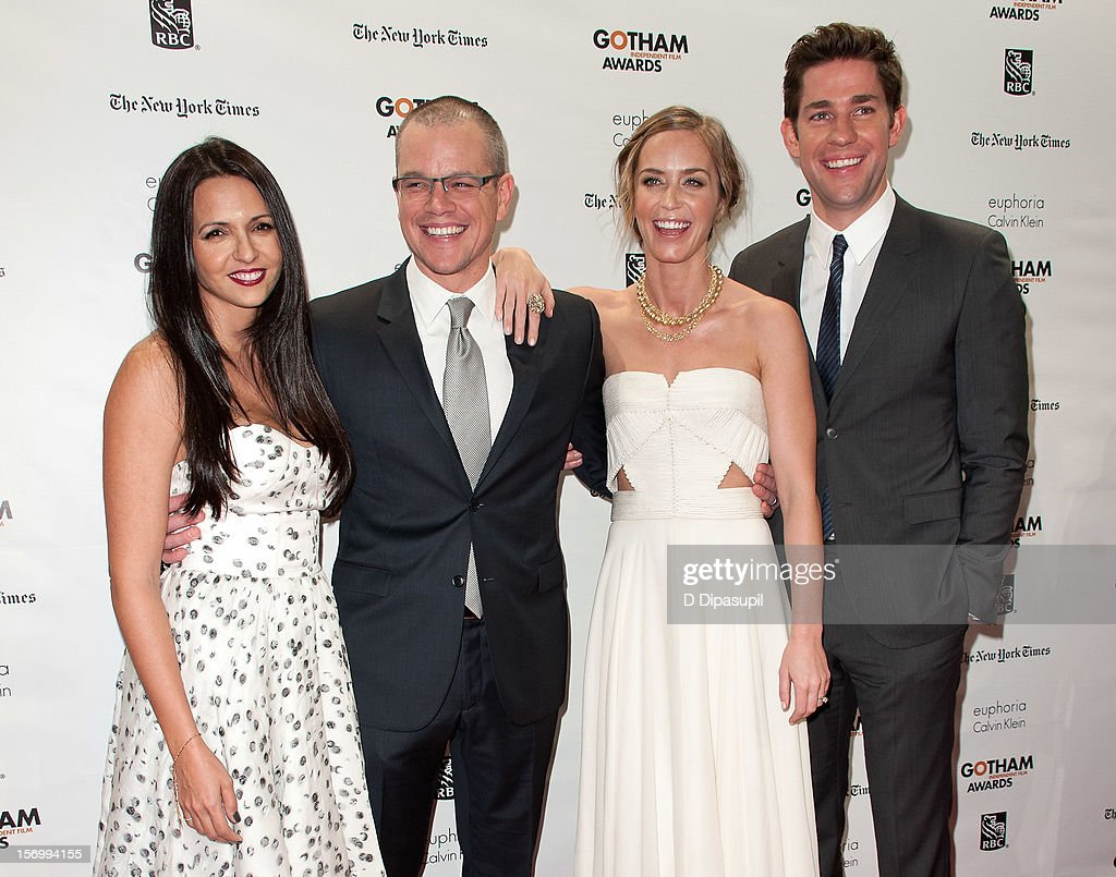 Luciana Damon, Matt Damon, Emily Blunt, and John Krasinski attend the 22nd annual Gotham Independent Film awards at Cipriani, Wall Street on November 26, 2012 in New York City.