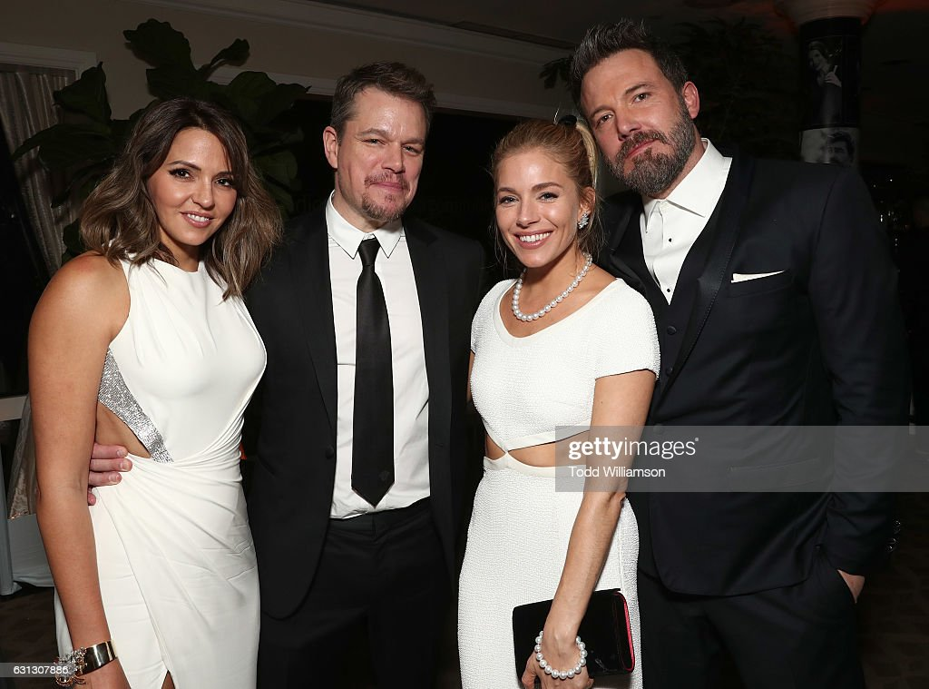 Luciana Damon, Matt Damon, Sienna Miller, and Ben Affleck attend Amazon Studios Golden Globes Celebration at The Beverly Hilton Hotel on January 8, 2017 in Beverly Hills, California.