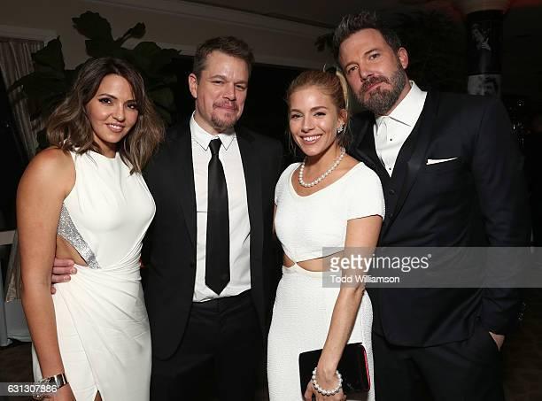 Luciana Damon, Matt Damon, Sienna Miller, and Ben Affleck attend Amazon Studios Golden Globes Celebration at The Beverly Hilton Hotel on January 8,...