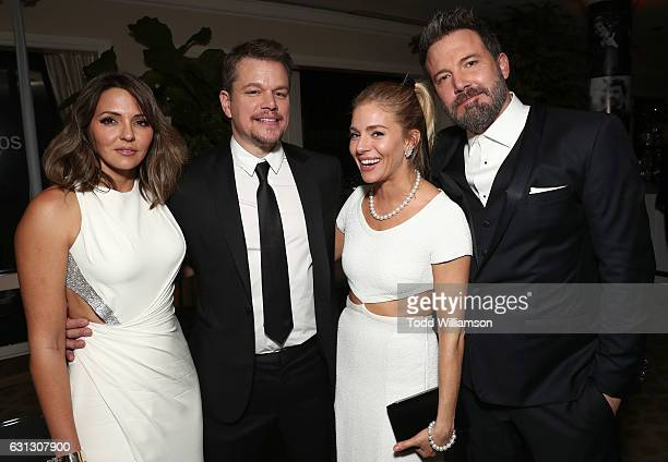 Luciana Damon Matt Damon Sienna Miller and Ben Affleck attend Amazon Studios Golden Globes Celebration at The Beverly Hilton Hotel on January 8 2017...