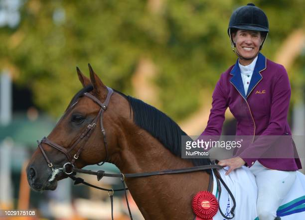 Luciana Diniz of Portugal after winning riding Camargo 2 during the Tourmaline Oil Cup individual jumping equestrian event on the third day of the...