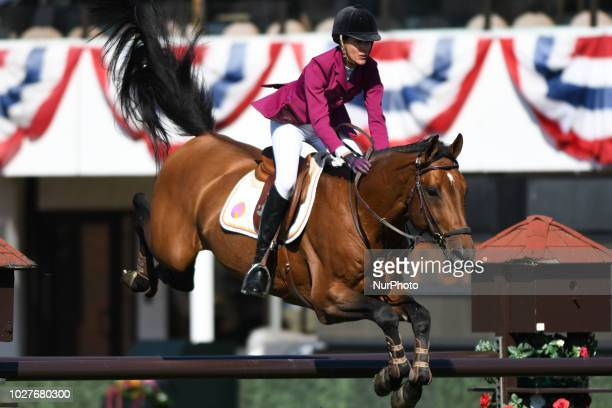 Luciana Diniz of Portugal riding Camargo 2 during the Telus Cup individual jumping equestrian event on the opening day of the Spruce Meadows Masters...