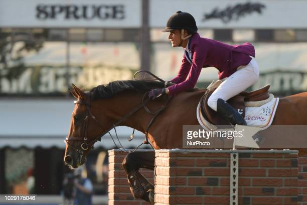 Luciana Diniz of Portugal riding Camargo 2 during the Tourmaline Oil Cup individual jumping equestrian event on the third day of the Spruce Meadows...