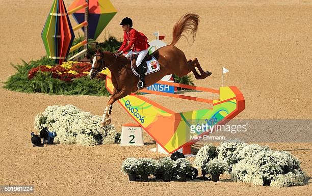 Luciana Diniz of Portugal riding Fit For Fun 13 competes during the Equestrian Jumping Individual Final Round on Day 14 of the Rio 2016 Olympic Games...