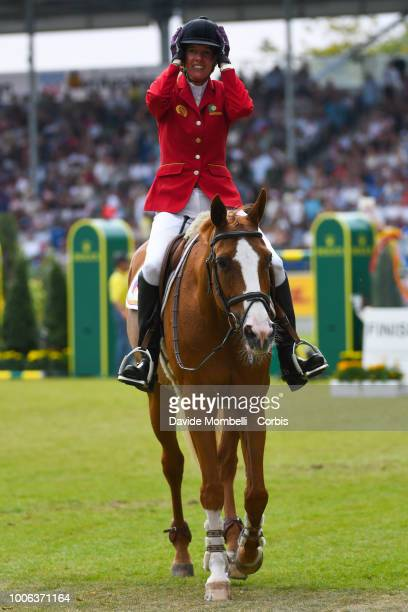 Luciana Diniz of Portugal riding Fit For Fun 13 during the Jump off the Rolex Grand Prix The Grand Prix of Aachen Jumping competition over two rounds...