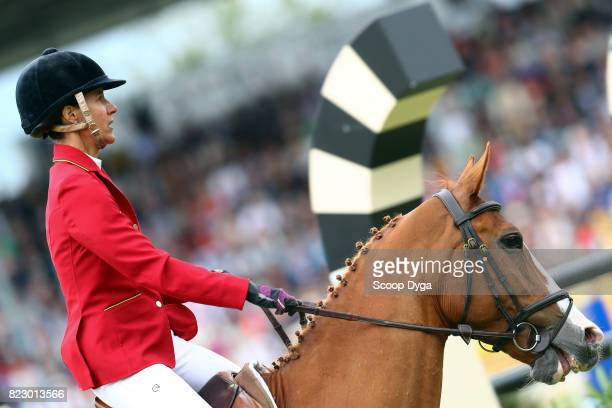 Luciana DINIZ riding FIT FOR FUN during the Rolex Grand Prix part of the Rolex Grand Slam of Show Jumping of the World Equestrian Festival on July 23...