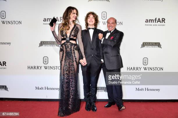 Luciana Gimenez Lucas Jagger and Marcelo de Carvalho attends the 7th Annual amfAR Inspiration Gala on April 27 2017 in Sao Paulo Brazil